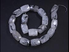 Бусина Кварц с турмалином, прямоугольник крупная грань 15*10 мм (1 шт) №18340