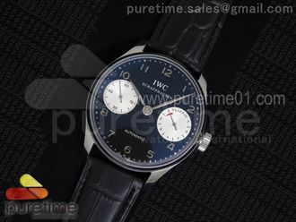 Portuguese Real PR IW5001 YLF 11 Best Edition BlackWhite Dial on Black Leather Strap