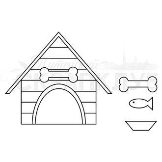Штамп для скрапбукинга Собачья будка, кость, рыба, миска для открыток в стиле КАС и раскрашивания