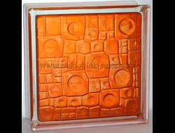 Стеклоблок Vitrablok окрашенный внутри губка оранжевый