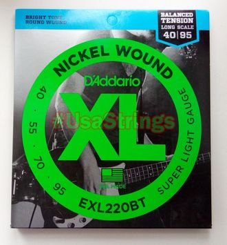 D`Addario exl220BT 40-95 long scale balanced tension light gauge