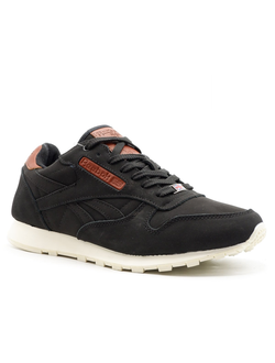 Reebok Classic Leather Black/Brown (с мехом) Мужские (40-45)