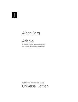 Berg, A: Adagio from Chamber Concerto for Violin, Clarinet and Piano