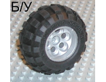 ! Б/У - Wheel 36.8mm D. x 26mm VR with Axle Hole, with Black Tire 56 x 30 R Balloon 6595 / 32180, White (6595c01) - Б/У