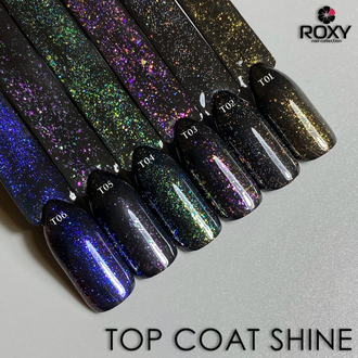 Топ без липкого слоя с шиммером - TOP COAT no wipe Т02 shine (10 ml)