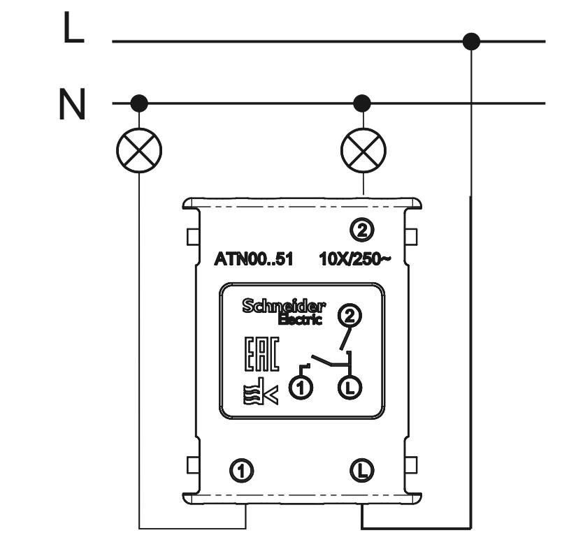 схема подключения двухклавишного выключателя Schneider Electric серии Atlas Design