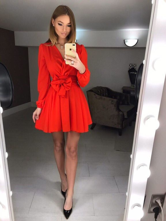 653c5fbe9e0 Короткое красное платье с юбкой солнце купить в интернете Киев