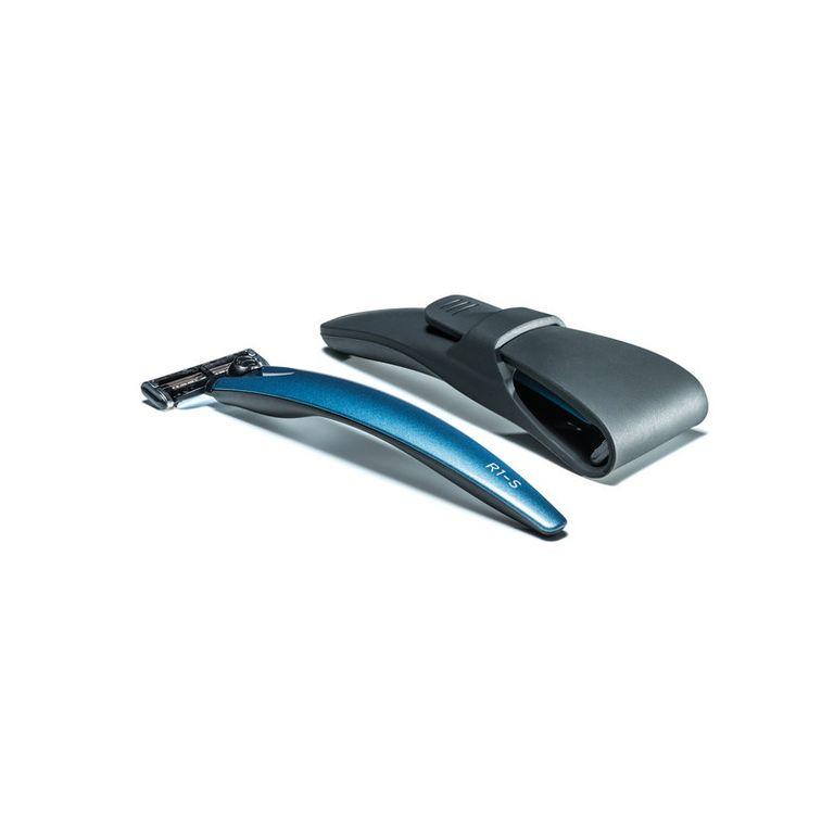 Подарочный набор Bolin Webb R1, бритва R1-S синяя, Gillette Mach3, дорожный чехол