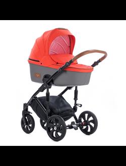 Универсальная коляска Tutis Zippy Viva Life (2 в 1) Цвет Оранжево-красный/Кожа Серый