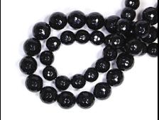 Бусина Агат черный, шар мелкая грань 10 мм (1 шт) №16398