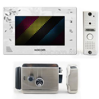 Комплект домофона Kocom KCV-A374LE black + KC-MC20 silver