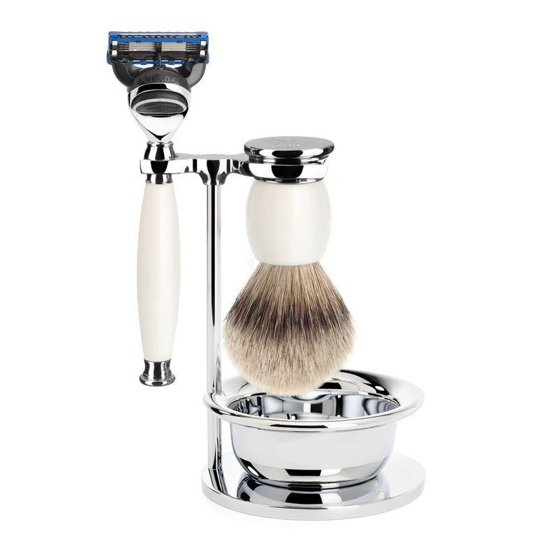 Бритвенный набор Muehle Sophist, фарфор, барсучий ворс высшей категории Silvertip, бритва Fusion, чаша
