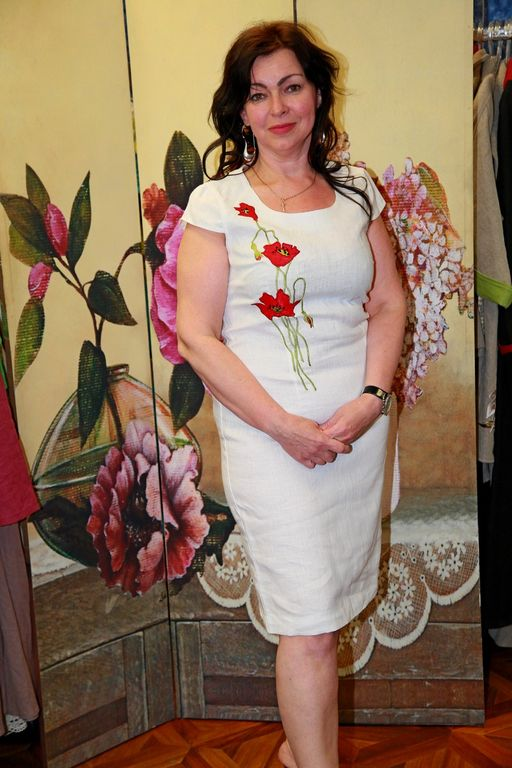 55fb7068b29a07c Платье из белого льна с вышивкой Наталья Гайдаржи АРТ - ПВБ1016/НА ЗАКАЗ