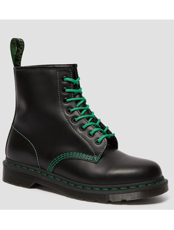 Полуботинки Dr. Martens 1460 Black Smooth Contrast Green Stitch мужские