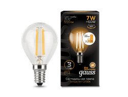 Gauss LED Filament Globe P60 Step Dimmable 7w 827/840 E14