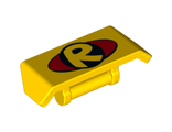 Vehicle, Spoiler 2 x 4 with Bar Handle with Yellow Letter R inside Black Circle DC Robin Logo on Red Oval Pattern, Yellow (98834pb07 / 6145441)