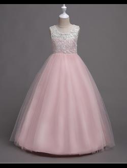 aad5d76f28b Детское бальное платье нежно розового цвета на выпускной купить из  кружевного гипюра и фатина