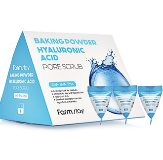 FarmStay Baking Powder Hyaluronic Acid Pore Scrub Скраб для лица в пирамидках c гиалуроновой кислотой 1шт