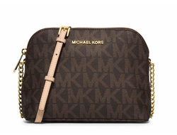 Сумка Michael Kors Cindy Large Dome Logo Crossbody (Коричневая)