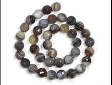 Бусина Агат серый, шар мелкая грань 10 мм, Ботсвана (1 шт) №19040