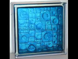 Стеклоблок Vitrablok окрашенный внутри губка синий