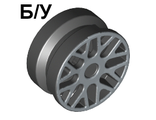 ! Б/У - Wheel 11mm D. x 6mm with 8 'Y' Spokes with Silver Outline Pattern, Black (93595pb02 / 4616406 / 6022400) - Б/У