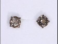 Серьги гвоздики Раухтопаз (дымчатый кварц), огранка круг 6*3 мм (длина 15 мм, 1,2 г) №18281