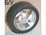 ! Б/У - Wheel 81.6 x 34 ZR Three Spoke Swirl, with Black Tire 81.6 x 34 ZR Thin Sporty Tread (32197 / 32196), Metallic Silver (32197c01) - Б/У