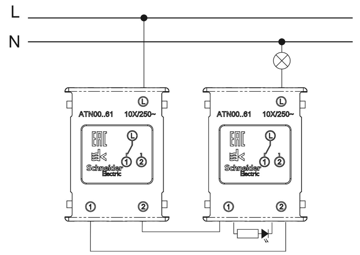 схема подключения одноклавишного проходного выключателя для включения с двух мест