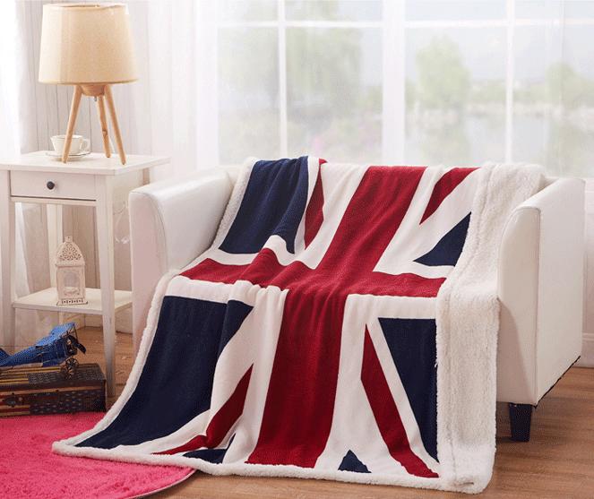 """Плед плюшевый """"Британский флаг"""". Теплый. 150 см X 210 см"""