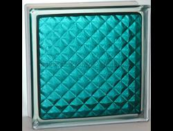 Стеклоблок Vitrablok окрашенный внутри инка морская волна