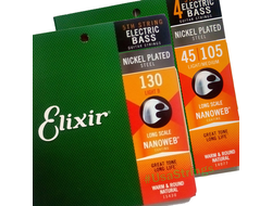 elixir 45-130 nanoweb electric bass strings