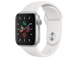 Apple Watch Series 5 44mm Silver Aluminium / White Sport Band