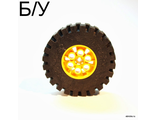 ! Б/У - Wheel 20 x 30 Technic with Black Tire 20 x 30 Technic 4266 / 4267, Yellow (4266c02) - Б/У