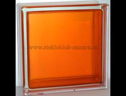 Стеклоблок Vitrablok окрашенный внутри гладкий оранжевый