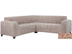 Чехол Велсофт на угловой диван, цвет Пудра