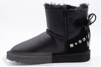 Угги UGG Australia Mini Bailey Bow Metallic Black женские арт. U80 сбоку