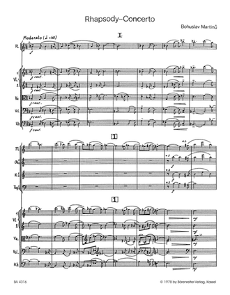 Martinu, Bohuslav Rhapsody - Concerto for Viola and Orchestra Study score