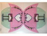 Plastic Tent with Bright Pink Top and Light Aqua Bottom with Banner, Windows, Zippers, and Heart Pattern, n/a (66864)
