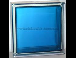 Стеклоблок Vitrablok окрашенный внутри гладкий синий