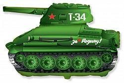 Шар (31''/79 см) Фигура, Танк T-34, Зеленый, 1 шт.