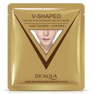 Тканевая маска V-SHAPED,BIOAQUA,для подтяжки овала лица.