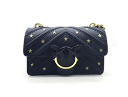 LOVE MINI BAG PINKO GOLD STARS BLACK