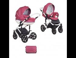 Универсальная коляска Tutis Mimi Style (2 в 1) Цвет Бордовый/цветной букле/кожа белый
