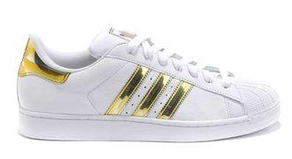 e4cef2fcf Купить кроссовки Adidas superstar белые с золотым, кожа в СПБ