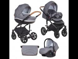Универсальная коляска Tutis Zippy MIMI Style (3 в 1) Цвет Серый лен/серый ромб/кожа коричневая