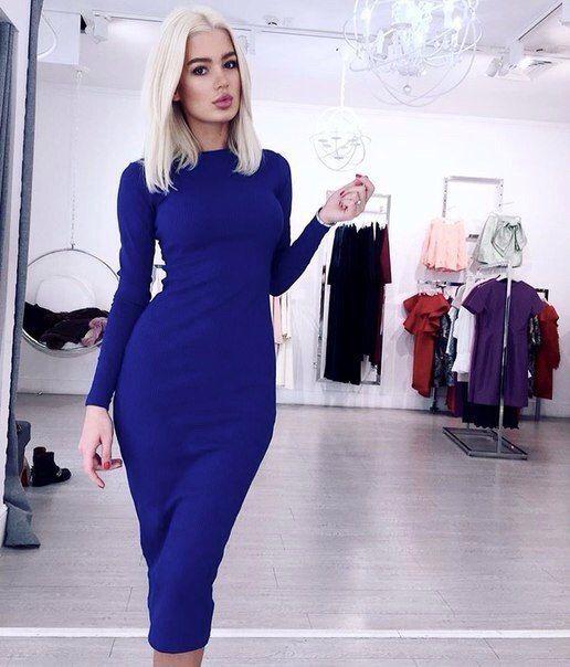 0b717d8a53f Синее трикотажное платье мини по фигуре купить Украина