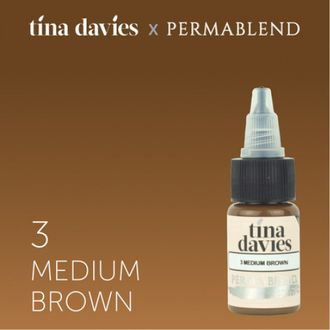 Пигмент для татуажа Perma Blend - TINA DAVIES 'I LOVE INK' 3 MEDIUM BROWN - 15 МЛ.
