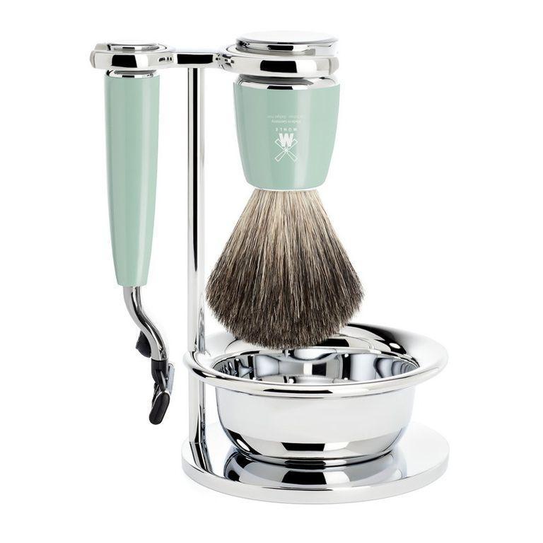 Бритвенный набор Muehle Rytmo, смола мятного цвета, натуральный барсучий ворс, бритва Mach3, чаша