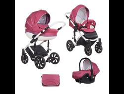 Универсальная коляска Tutis Zippy MIMI Style (3 в 1) Цвет Бордовый/цветной букле/кожа белый